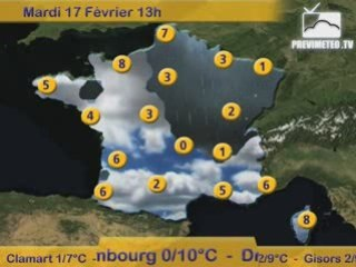 Bulletin Previmeteo.TV pour la France du 16/02/2009