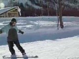 Elena snowboarding in Isola 2000 (Alpes, France) - day 1
