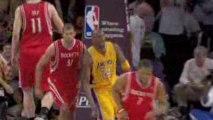 NBA Kobe passes the ball off the back board to himself for t