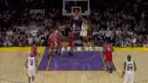 Andrew Bynum cleans up a missed lay up by Pau Gasol.