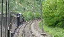 locomotive vapeur 241P17 vue des wagons!
