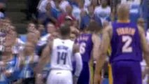 Kobe Bryant finds Pau gasol in the lane for the dunk.